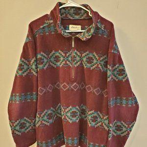 Eddie Bauer Vintage 90s Aztec Pullover Fleece Sz L